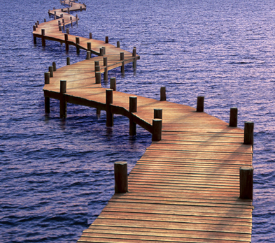 winding dock over water