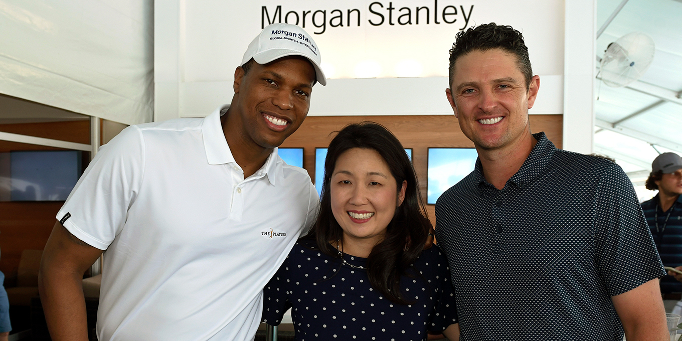 Golfer Justin Rose and Morgan Stanley executives Mandell Crawley and Audrey Choi