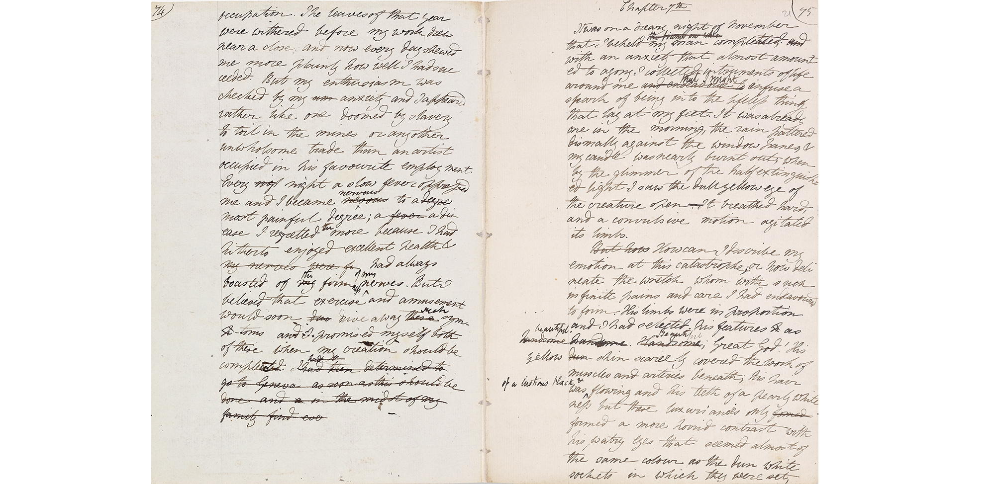 "Pages from the original manuscript describe the ""dreary night in November"" when the awakes."